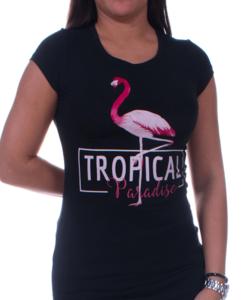 Fekete flamingós női póló rózsaszín felirattal