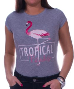 Szürke flamingós női póló rózsaszín felirattal