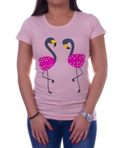 Női púder póló flamingó