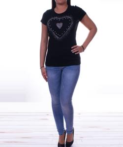 Fekete szivecskés női felső