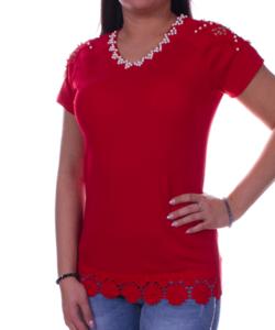 Piros csipkés női felső
