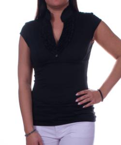 Fekete fodros női felső