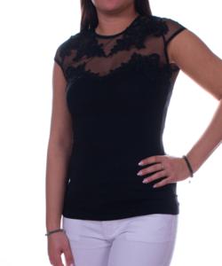Fekete tüllbetétes csipkés női felső