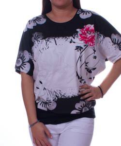 Fekete-fehér virágmintás női felső