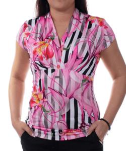 Tara rózsaszín virágmintás női felső