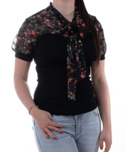 Fekete virágos tüll női felső
