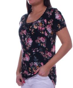 Vintage virágos fekete női felső csipkés