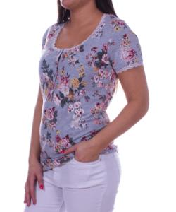 Vintage virágos szürke extra méretű női felső
