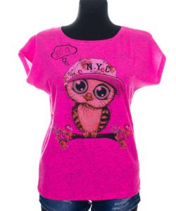 Baglyos hugme pink melírozott női felső nagy méret
