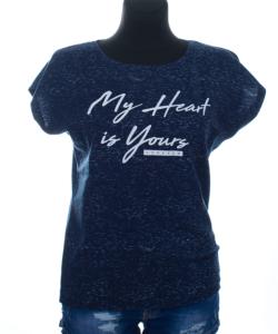 My heart s.kék melírozott női felső nagy méret