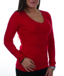 Piros  finomkötött női pulóver