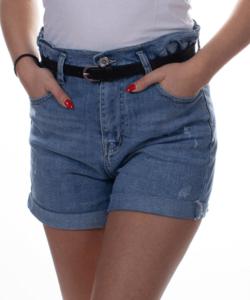 Magasított derekú  női farmer rövidnadrág