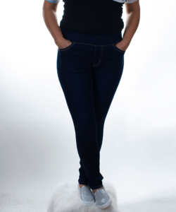 Kék  női körgumis farmer nadrág
