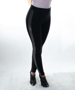Fekete pamut sztreccs női leggings csillogó betéttel