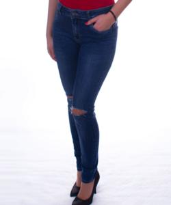 Kék térdnél szaggatott női farmer nadrág