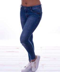 Push up kék szaggatott női farmer nadrág