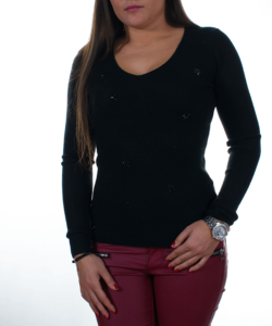 Fekete finomkötött női pulóver 2462b86112