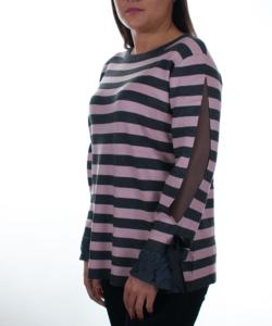 Szürke elegáns csipkés ujjú  finomkötött női pulóver