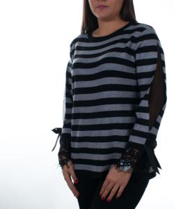 Fekete elegáns csipkés ujjú  finomkötött női pulóver
