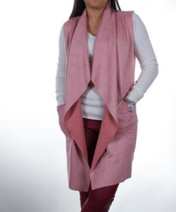 Rózsaszínű sálgalléros női mellény