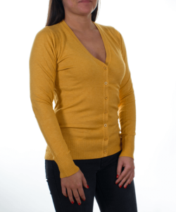 Mustársárga finomkötött női kardigán