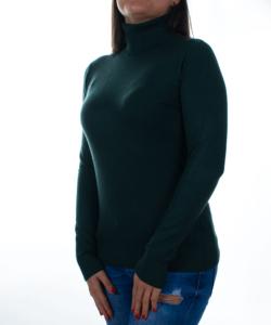 Mélyzöld garbós finomkötött női pulóver