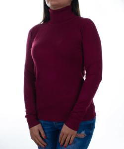 Bordó garbós finomkötött női pulóver