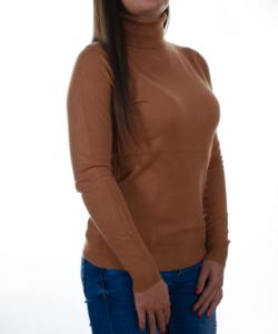 Karamell garbós finomkötött női pulóver