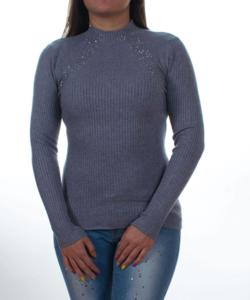 Szürke bordás kötésű strasszos női pulcsi