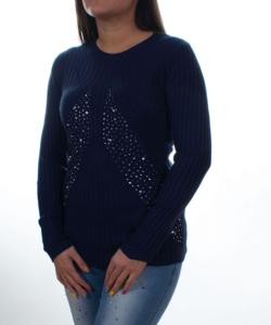 Sötétkék bordázott,strasszköves női pulóver