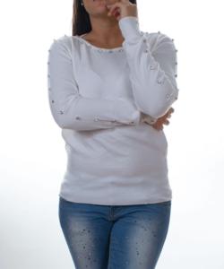 Fehér köves kötött női pulóver