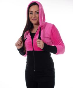 Pihe puha rózsaszín kapucnis női pulóver