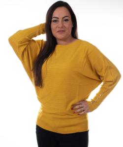 Mustársárga denevér ujjú puha kötött női felső