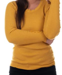 Mustársárga bordás kötött női felső