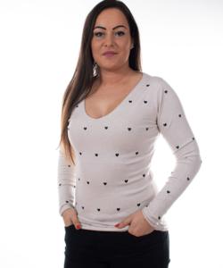 Bézs női pulóver szivecskés