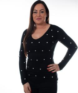 Fekete női pulóver szivecskés