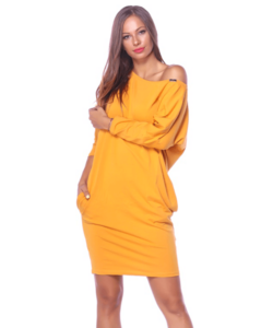 Victoria moda mustár laza női ruha