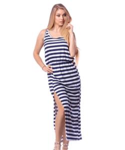 Victoria Moda kék fehér csíkos oldalán felvágott hosszú női ruha