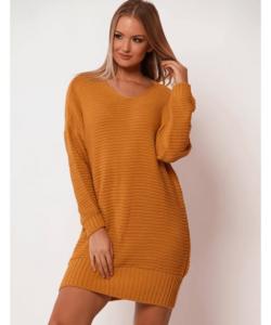 Victoria Moda mustár kötött tunika