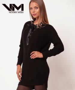 Victoria Moda kötött tunika fekete