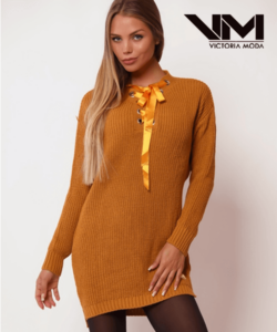 Victoria Moda kötött tunika mustársárga