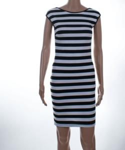 Kikiriki fekete-fehér csíkos női ceruza ruha