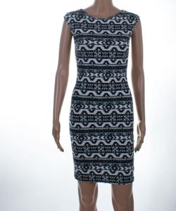 Kikiriki fekete-fehér mintás női ceruza ruha