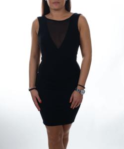 Kikiriki fekete necc v-nyakkivágású női ruha