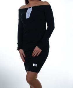 Váll nélküli fekete női tunika strasszos megkötővel