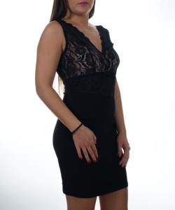 Fekete-bézs csipke betétes női ruha
