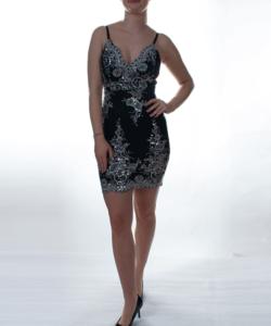 Fekete-ezüst flitteres álomszép női mini ruha
