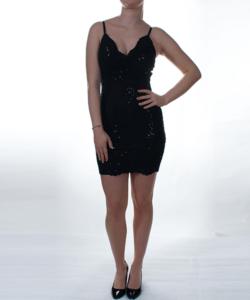 Fekete flitteres álomszép női mini ruha