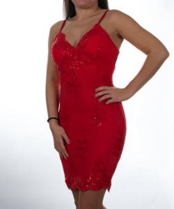 Piros flitteres álomszép női mini ruha
