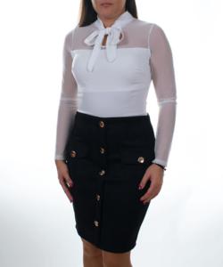 Gombos fekete velúr női miniszoknya